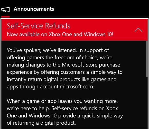 Microsoft incluirá una opción de reembolso en las compras de Xbox y Windows